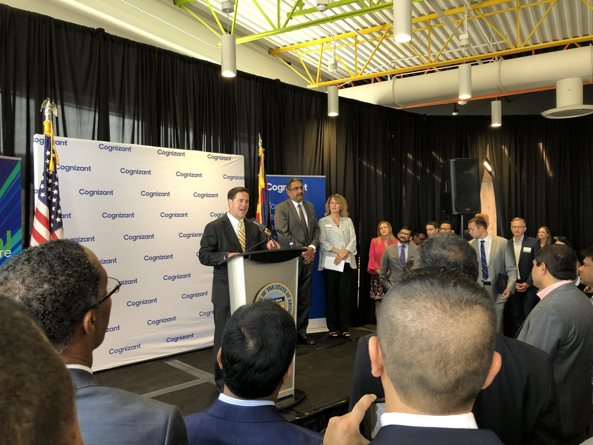 @dougducey announcing 500 more @Cognizant high tech jobs in Arizona. #goAZ #growAZ @ArizonaZanjeros @GPLInc @ASU<br>http://pic.twitter.com/IsatyChill