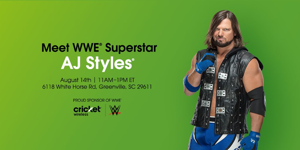 If you're in Greenville, SC on August 10th, come hang out with me at @CricketNation! Hope to see you there! mycrick.it/WWEEvent_Green… #sponsored