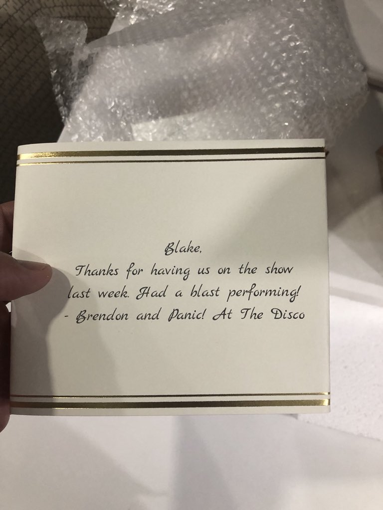 Only just now received this for some reason... Thank you guys for a great performance!! @PanicAtTheDisco https://t.co/ANIwgj8ilV