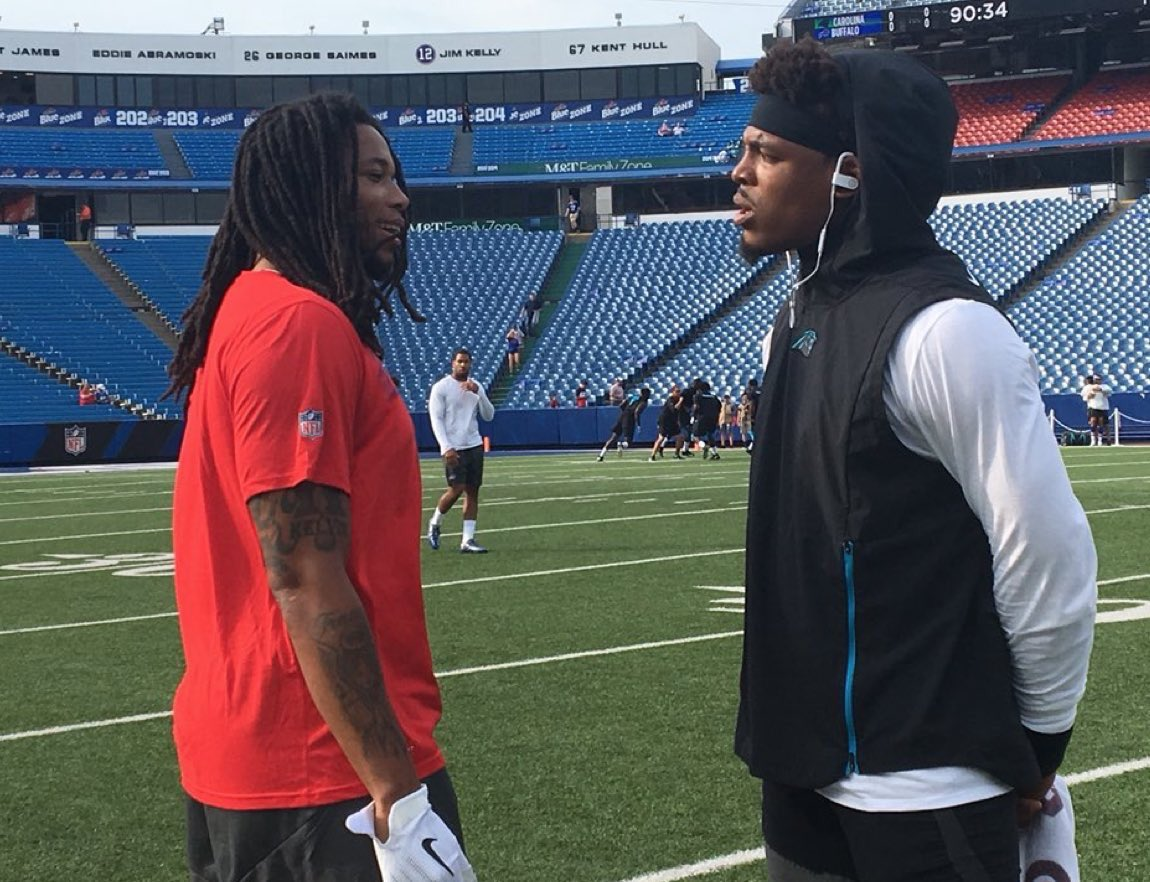 &quot;Man you thought EYE said that? Lololol that was ANOTHER Kelvin Benjamin, I wouldn&#39;t say those things Cam&quot; <br>http://pic.twitter.com/soougV8jkk