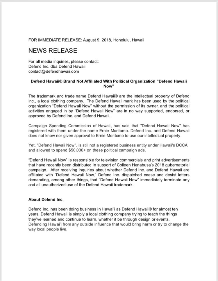 and now the latest hawaii trademark battle popular local clothing brand defend hawaii sending cease and desist letter to pro colleenhanabusa super pac