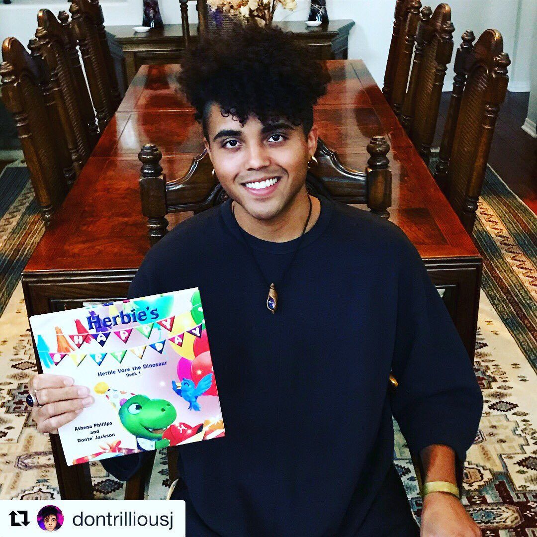 "I am so proud of both of you @Donte_Jackson !!!Your hard work and creativity come to reality!! Its a wonderful book for children. ""Herbie Vore The Dinosaur 🦖!! Its available at Barnes & Noble online and Amazon! #dontejackson #book #childrenbooks #barnesandnoble #amazon"