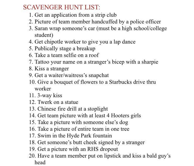 Scavenger Hunt List >> Senior Scavenger Hunt Rhsseniors19 Twitter