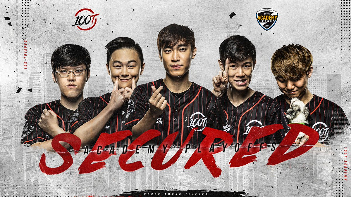 "100 Thieves on Twitter: ""Proud of our LoL Academy team for securing a spot  in the 2018 North American Academy League Summer playoffs starting next  week!"