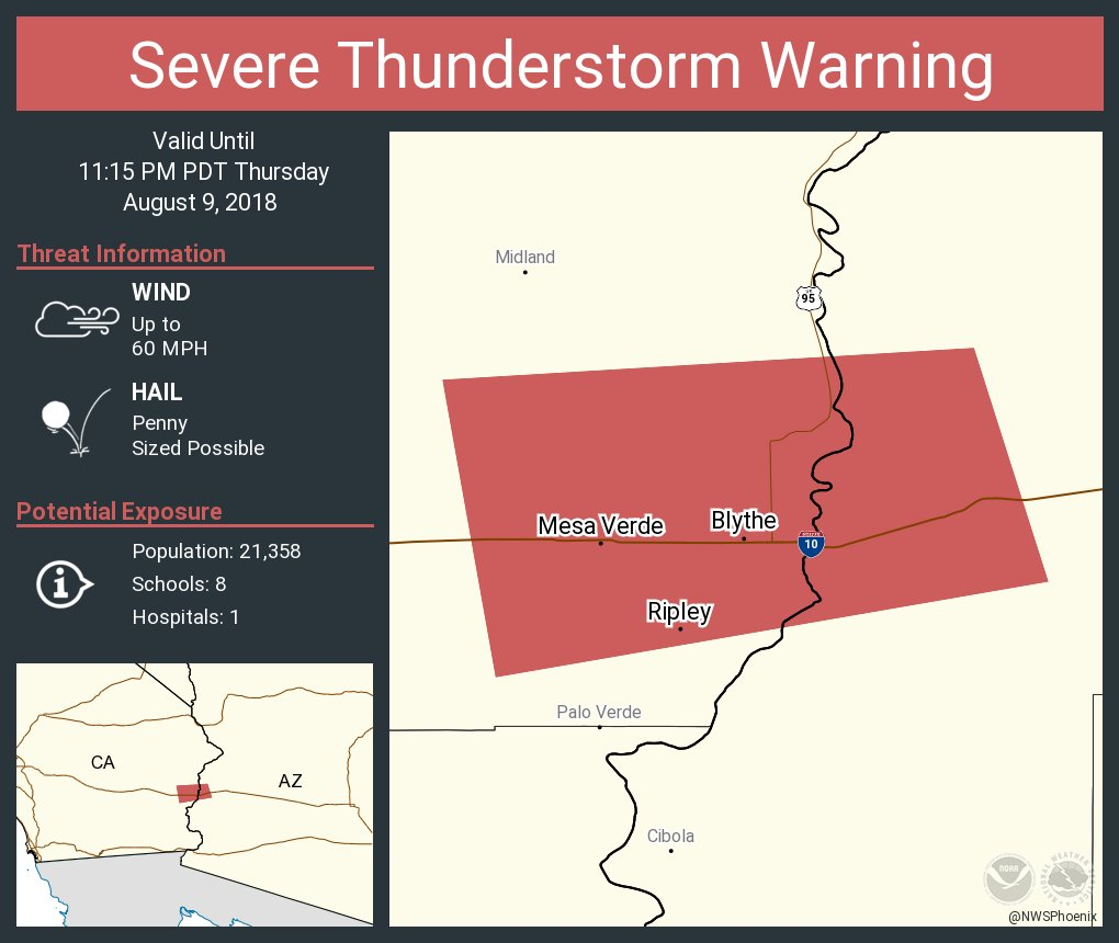 Nws Phoenix On Twitter Severe Thunderstorm Warning Including