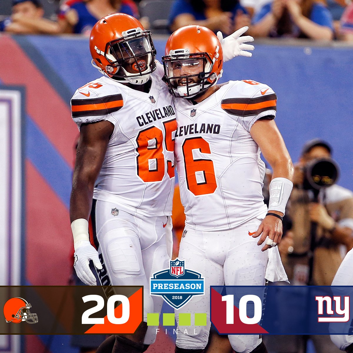 FINAL: @Browns get the 20-10 WIN! #CLEvsNYG <br>http://pic.twitter.com/B5QQ3H960f