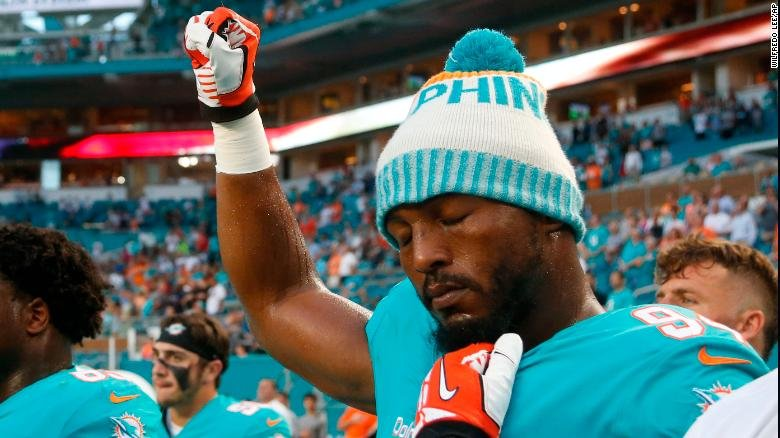 FOOTBALL IS BACK!   And guess what?  MIAMI PLAYERS ARE ALREADY TAKING A KNEE!   Several NFL players took a knee, raised fists or did not take to the field while the National Anthem was played before preseason games  https:// cnn.it/2KG8VSL  &nbsp;  <br>http://pic.twitter.com/dXrrxJqFG7