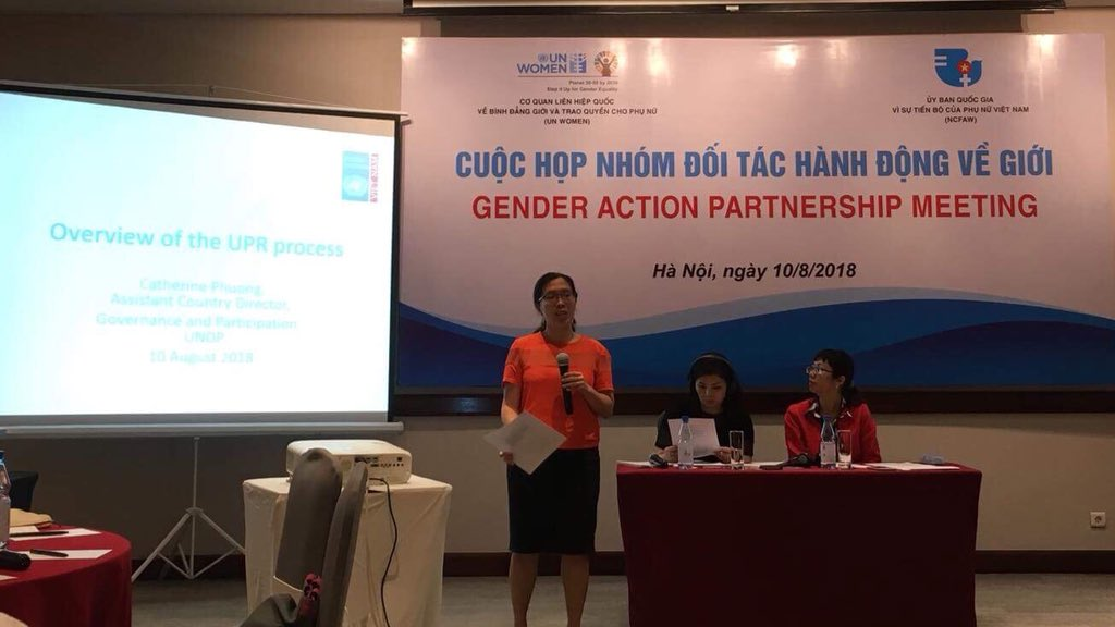 Presented this morning at the #gender action #partnership meeting on using the upcoming #UPR process to promote #genderequality in #Vietnam #SDG5 #womensrights #humanrights<br>http://pic.twitter.com/gG43nQoAxX