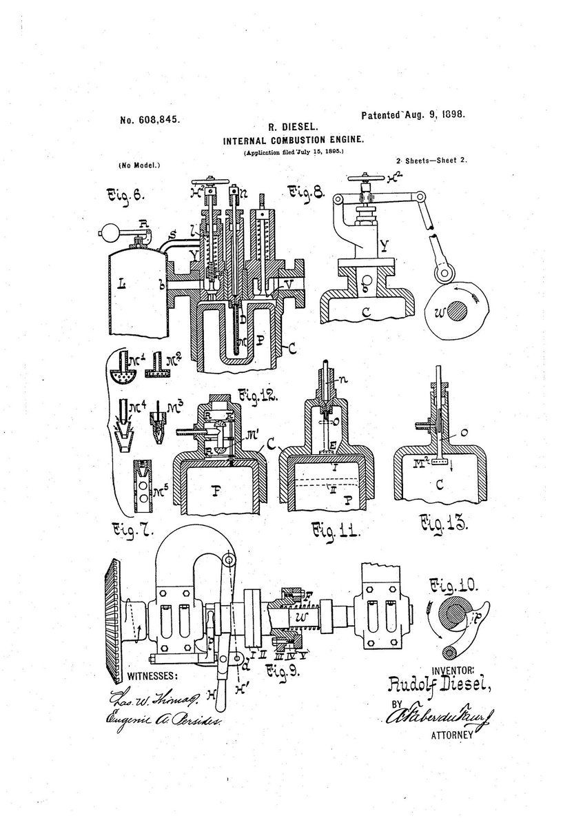 """... Rudolf Diesel receives a #patent in 1898 for his #invention of a new  combustion engine for automobiles, which comes to be known as the """"diesel  engine"""" ..."""