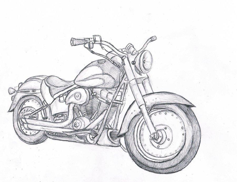 Картинки карандашом мотоциклы поэтапно