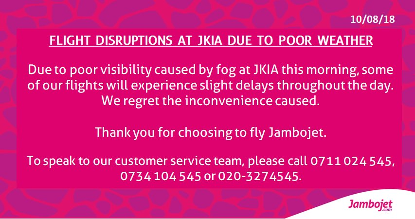 Operations update: Heavy fog at JKIA.<br>http://pic.twitter.com/bSyyxLCxSp