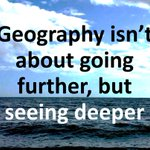 Image for the Tweet beginning: Geography isn't about going further