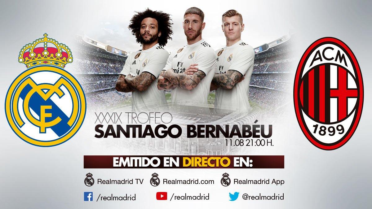 🏆 Trofeo Santiago Bernabéu ⚽ @realmadrid vs @acmilan 📅 Sábado 11 de Agosto - 21h00 👀 En DIRECTO en: Real Madrid App https://t.co/Bwb9h6I38I 📱 Y en nuestras cuentas de: Facebook Twitter YouTube #HalaMadrid | #RMTV