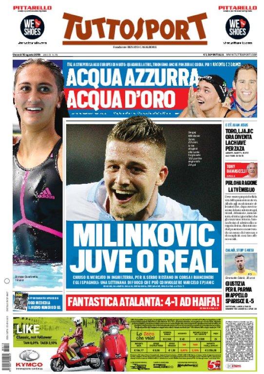 Ecco la #primapagina di oggi:- #Calciomercato, #Milinkovic #Juve o #Real;- #Europei di nuoto, Acqua azzurra, acqua d\