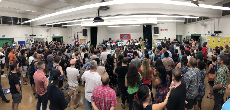 Our #FightForAloha rally brought together 750 people+! It's the biggest political event for a candidate in Hawaii in years. Mahalo @Ocasio2018!<br>http://pic.twitter.com/ggMpNiLrKJ