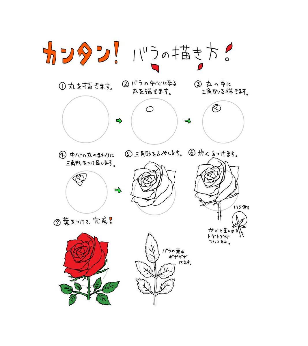 プロ監修イラスト講座 On Twitter バラを簡単に描く方法