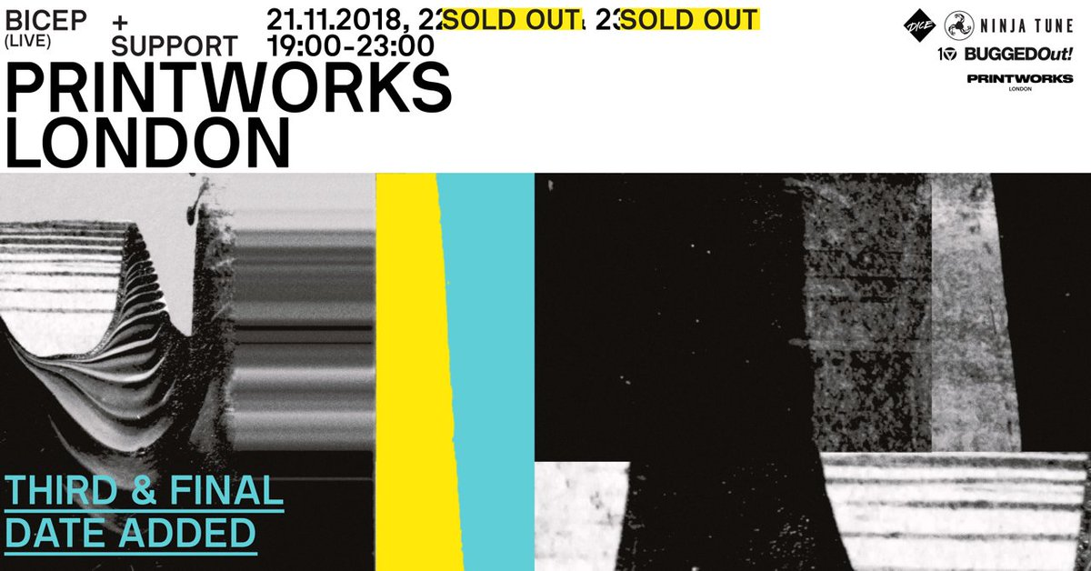 On sale now: @feelmybiceps third date at Printworks London, taking place 21.11.18. Tickets via @EA_DICE now. Pres. by @BuggedOut x @TroubleVision. buff.ly/2M3GRhH