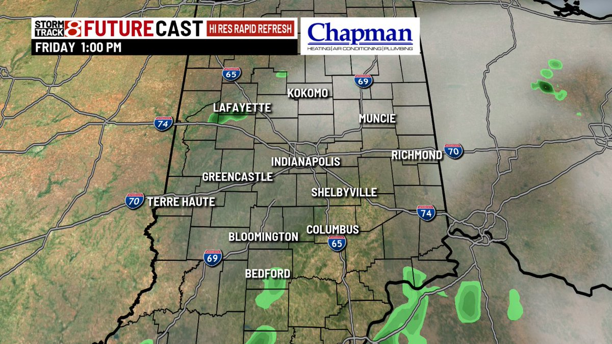 We will stay mostly dry through the first half of the day or more with better storm chances this afternoon/evening. Some storms could be strong to severe with damaging wind and hail. Stay safe!  #INwx #Daybreak8 @WISH_TV<br>http://pic.twitter.com/wpi5b9cjZ1