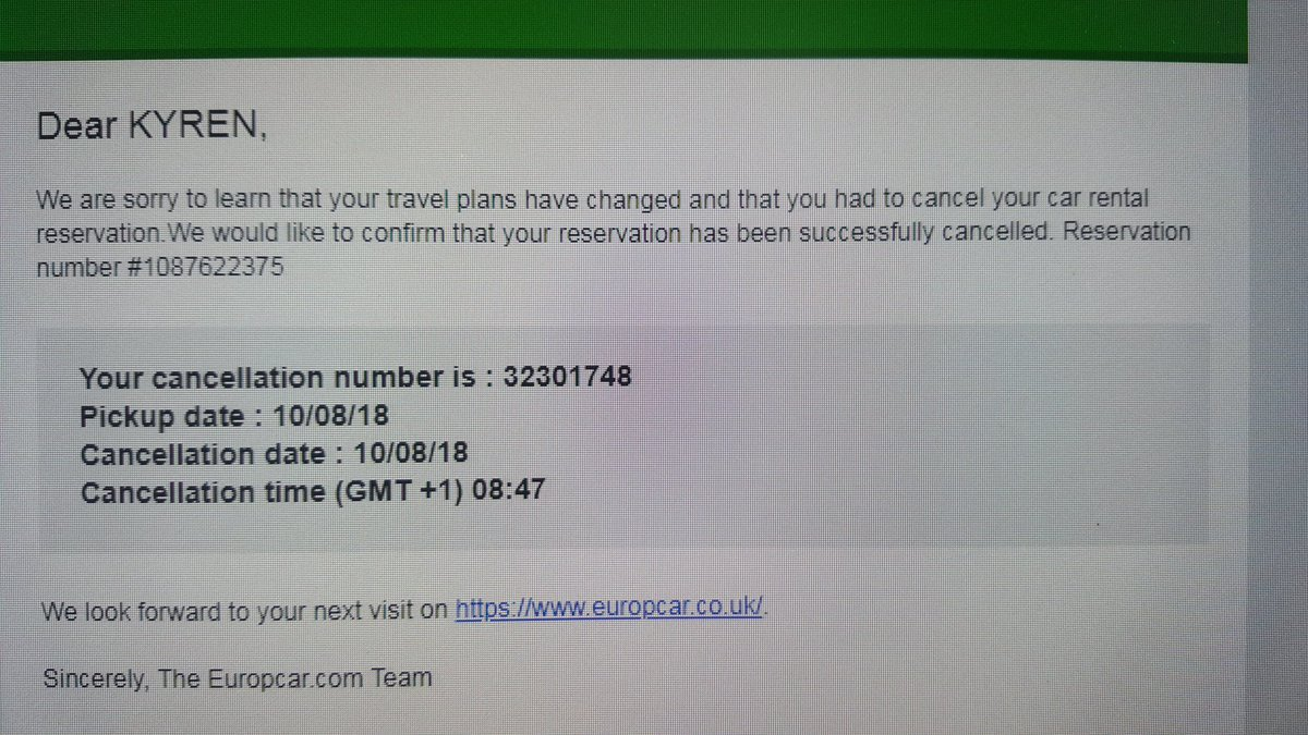 Europcar Uk On Twitter Hi We Use A Standardised Email Template