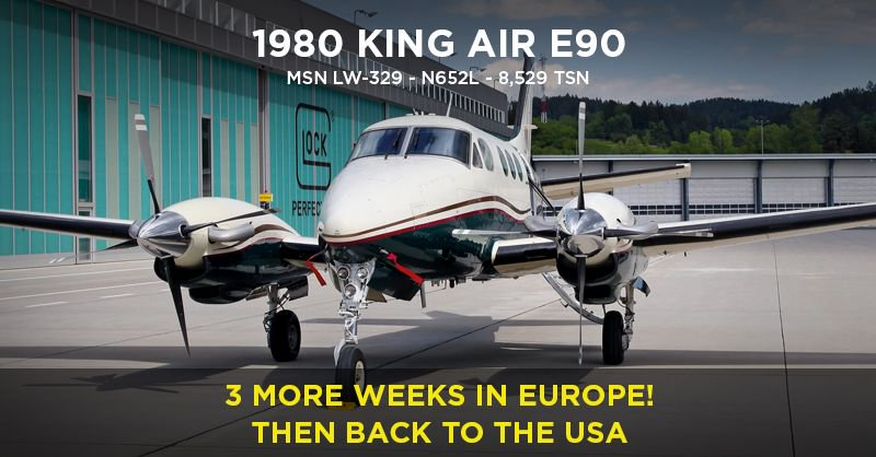 3 More weeks in #Europe then back to the #USA - #KingAir E90 #AircraftForSale with @BoutsenAviation | Listed on  http:// AeroClassifieds.com  &nbsp;   -  https:// buff.ly/2yJgcAk  &nbsp;    #AeroClassifieds#business#aircraft#aviation#luxury #avGeek#pilot#bizav #planeSpotting #airplane#NBAA2018<br>http://pic.twitter.com/03MhTI0isM