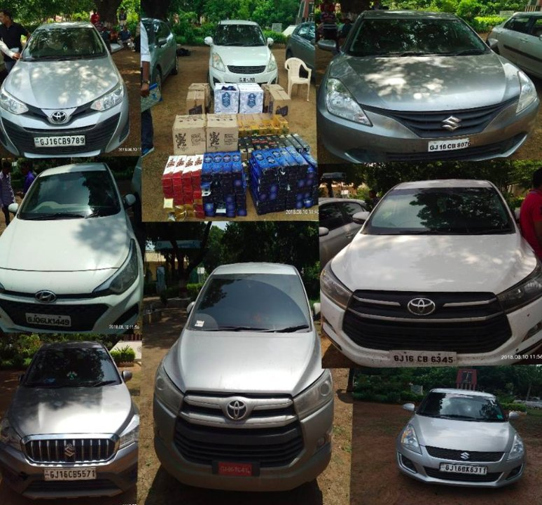 LCB in Bharuch seizes liquor from 6 luxury cars near cable stay bridge