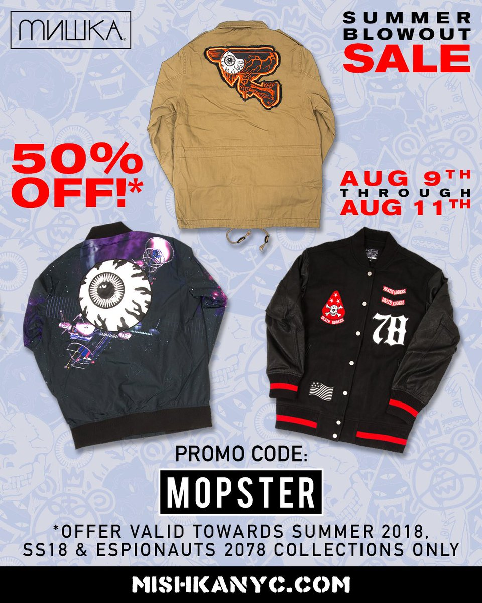 Now through tomorrow, use code MOPSTER to take 50% off select collections at shop.mishkanyc.com