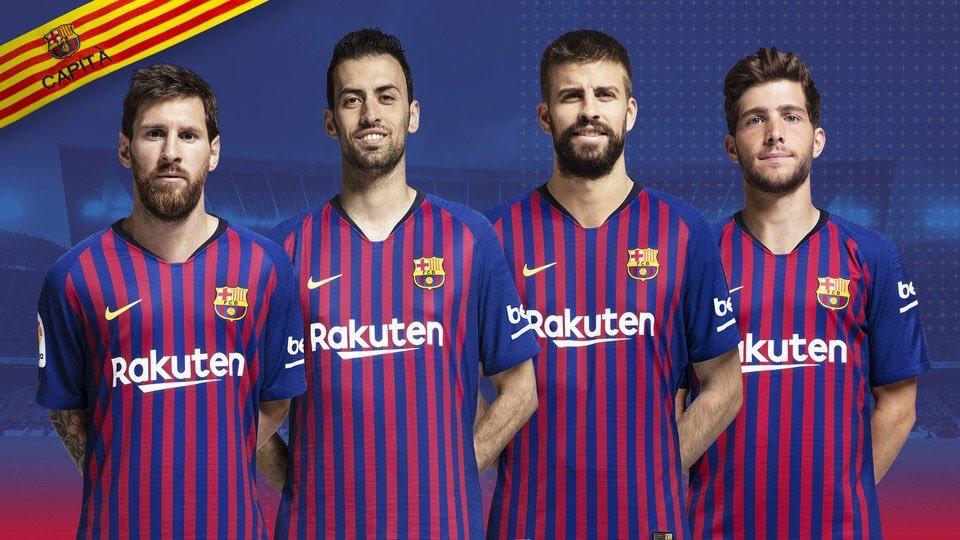 Estos serán los 4 capitanes el Barcelona. Piqué y Sergi Roberto  reemplazan a Iniesta y Mascherano. Messi Gran capitán