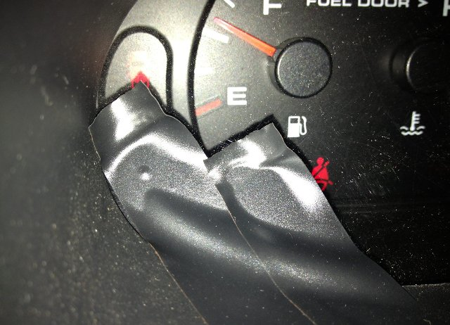 One Use Not Recommended For Electrical Tape Covering An Illuminated Check Engine Light Ignoring