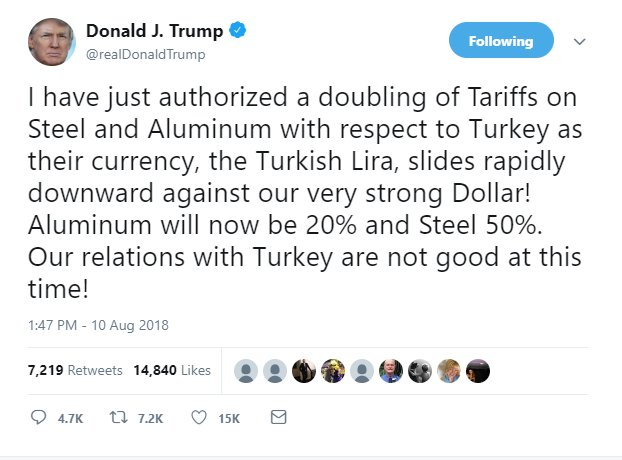 Donald Trump tweets that he has authorised a doubling of US tariffs on Turkish imports of steel and aluminium