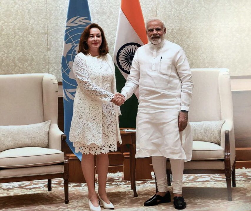 Successful meeting with the PM of India @narendramodi on my arrival to Delhi. I shared my priorities. We agreed on the importance of implementing commitments and improving the efficiency of the UN. I thanked him for India's support to my office. We will continue working together.