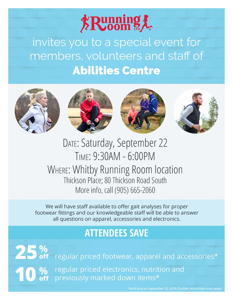 89c27978393c6 On September 22nd stop by Whitby s Running Room location at 80 Thickson Rd  South and receive 25% off all athletic wear! Get geared up for fall and ...