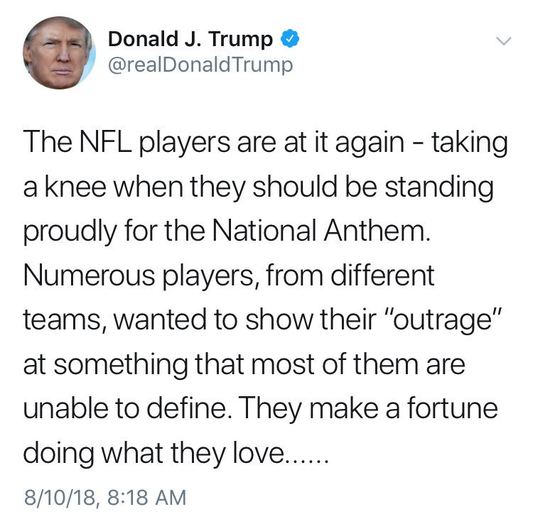 Trump vs NFL Players, the sequel, in theaters now 👀