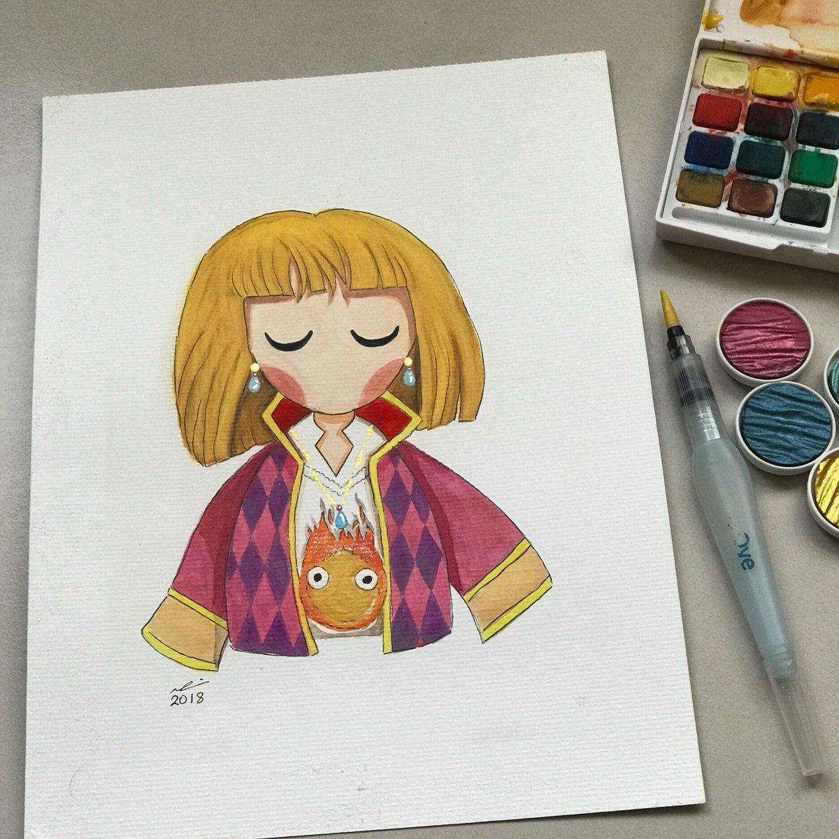 #ハウルの動く城 A watercolor painting I made for one of my favorite Ghibli movies  <br>http://pic.twitter.com/lvv8415BIA