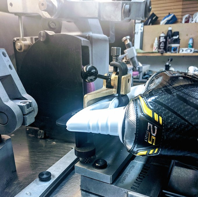 """Did you know that the new LS5 Carbon Steel in the Supreme 2S Pro runs at a 10 ft radius? We have a customer looking to adjust that to a 9 ft radius through our Blade Shaping Service.  See if Blade Shaping is right for you!  #Bauer #Supreme #2SPro #skates #hockey #JerrysHockey"""""""