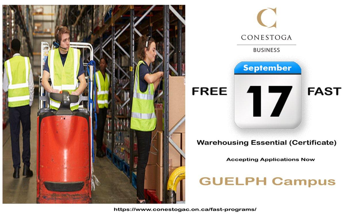 Accepting applications now for the 12-week Warehouse Essentials #FREE training program @ConestogaC GUELPH campus.   Start date September 17, 2018  For more information, please visit:  https://www. conestogac.on.ca/fast-programs/  &nbsp;   @ThinkConestoga #ConestogaBiz #thinkconestoga <br>http://pic.twitter.com/Wz6RgKw0pm