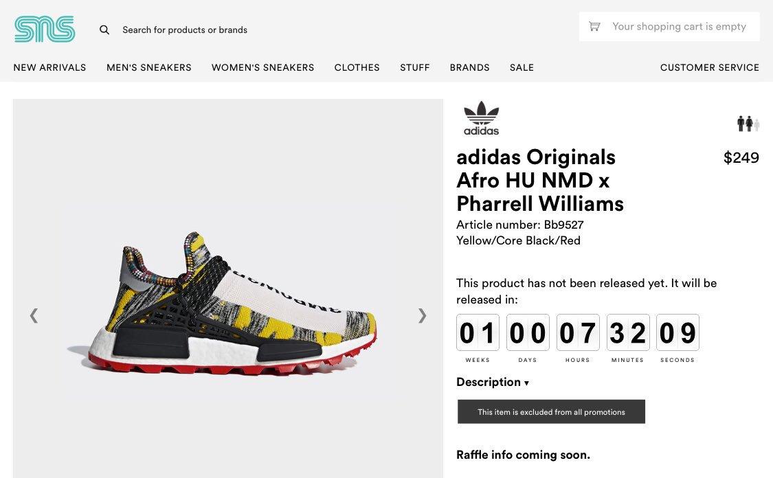 "a9b4255a2 Pharrell x Adidas HU NMD ""Afro Pack"" raffle coming soon to sneakersnstuff  BB9527 https   bit.ly 2KN88PI BB9528 https   bit.ly 2OrIeTQ BB9531 ..."