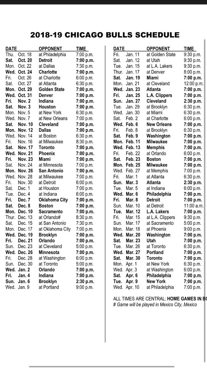 "the athletic on twitter: ""here's the bulls' 2018-19 schedule. golden"