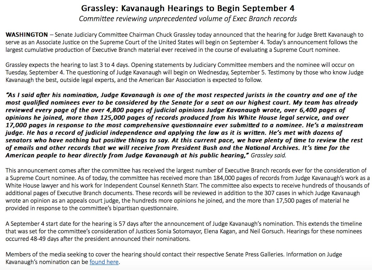 JUST IN: Senate Judiciary Committee Chair Chuck Grassley announces hearings for Supreme Court nominee Brett Kavanaugh will begin September 4th.  https:// abcn.ws/2KJIco1  &nbsp;  <br>http://pic.twitter.com/OT4KOalSSg