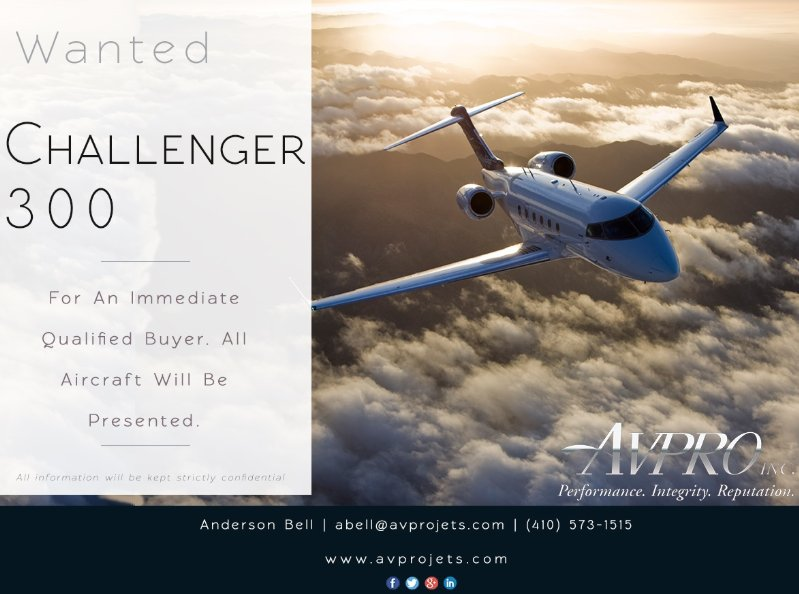 @AvproJets is looking for #Challenger300 for an Immediate qualified buyer! All aircraft will be presented! Get in touch with them today at  http:// ow.ly/4HUv30lmjdo  &nbsp;    #aircraftwanted #bizjet #bizav #privateaviation #privatejet #privateflying #businessaviation<br>http://pic.twitter.com/jdQNPIckdp
