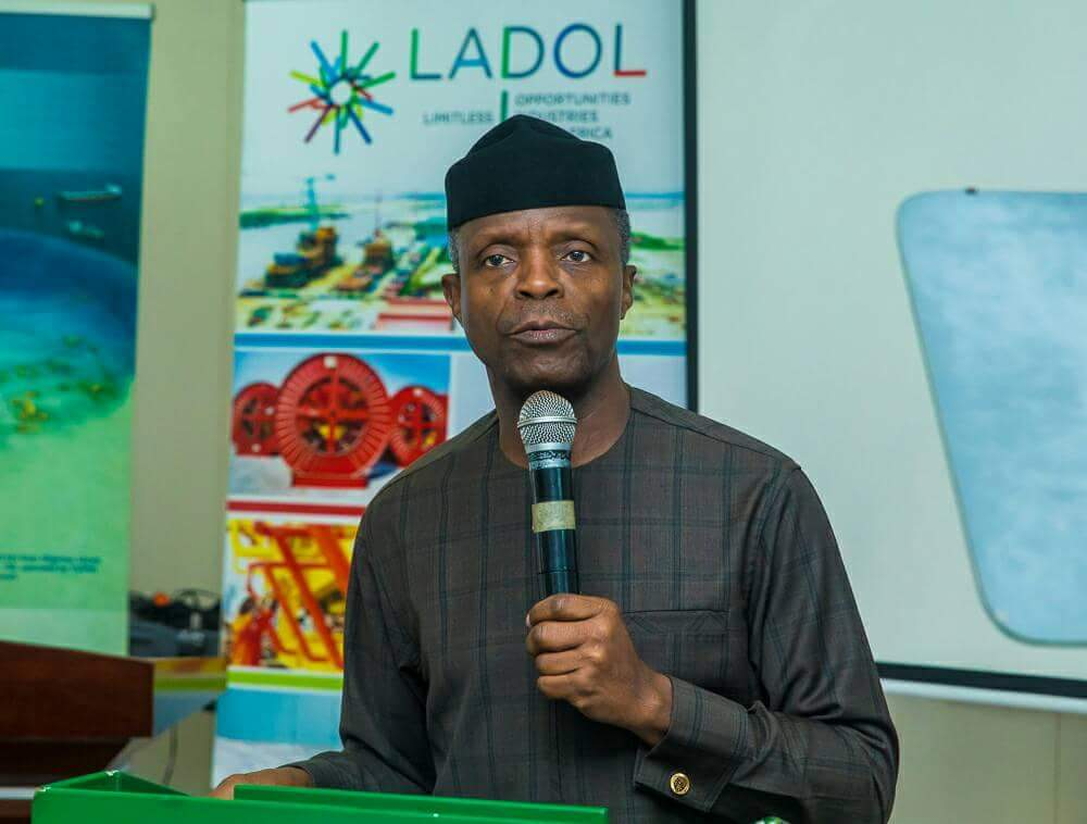 Acting President @ProfOsinbajo SAN, visits Lagos Deep Offshore Logistics Base - LADOL Free Zone, where he tours and inspects the facilities, at Apapa, Lagos. <br>http://pic.twitter.com/2rOdspbz2k