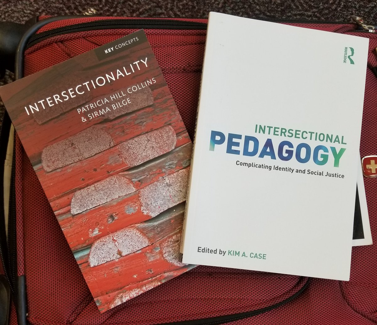 TSA pulled my bag for inspection. The feared objects were books on #Intersectionality and Intersectional Pedagogy.   Even TSA knows that Radical #Feminist Theory is infinitely powerful and dangerous to the status quo!  #academia #womeninscience .@BlackFeminisms .@citeblackwomen<br>http://pic.twitter.com/HMBBooAn5Z