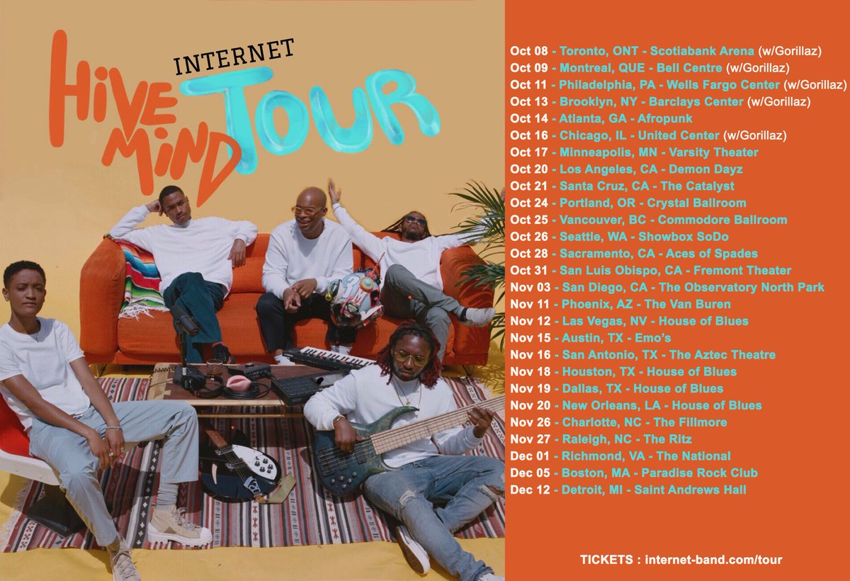 All Tickets to Hive Mind Tour Part 1 available now : Internet-band.com/tour