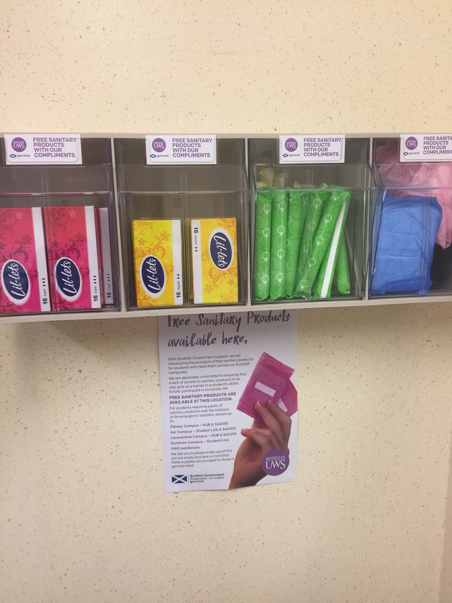 Well done @UniWestScotland just noticed this new instalment in the P building bathroom (excuse the pun). Proud to be working at a university ensuring that students don't loose a day of learning caused by #periodpoverty #studentlife #periodpower #EndPeriodPoverty #scotgov<br>http://pic.twitter.com/aVT2w5BPML