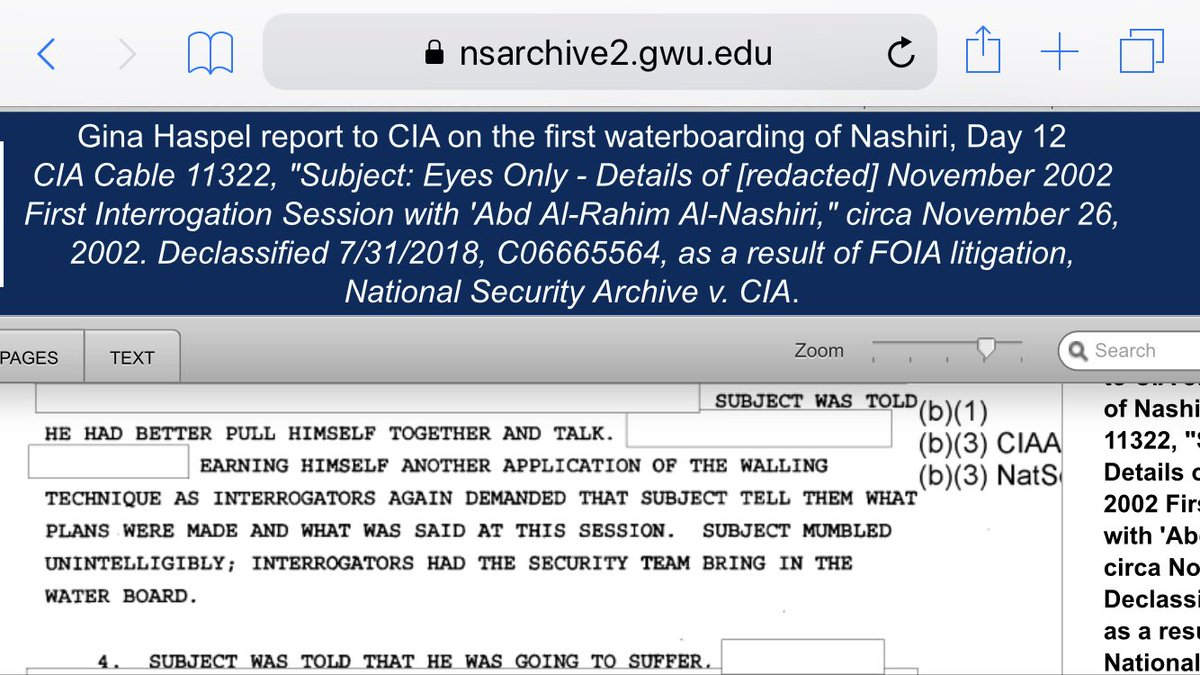 America, this is why you have no credibility! Read how your CIA Director Gina Haspel, with cool bureaucratic efficiency, describes the torture she supervised at a CIA black site.  Much thanks to @NSArchive for obtaining these secret torture cables<br>http://pic.twitter.com/1X6FfjzuRI