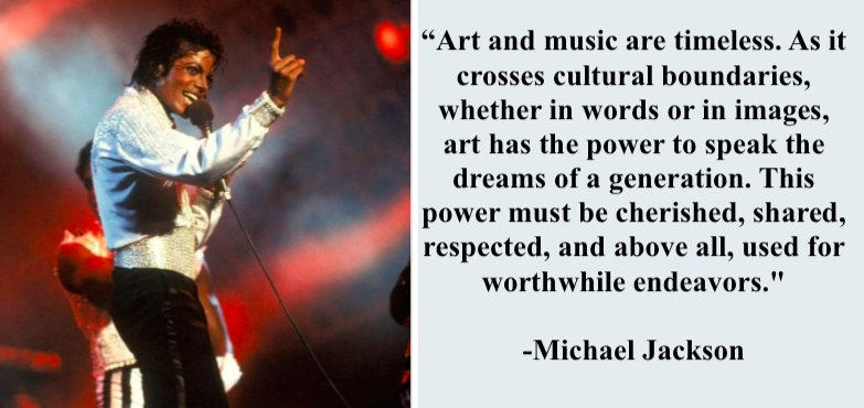 &quot;Art and music are timeless... &quot; Michael Jackson is TIMELESS and immortal thru his art  #FridayMotivation <br>http://pic.twitter.com/Iw4C1zIHcB