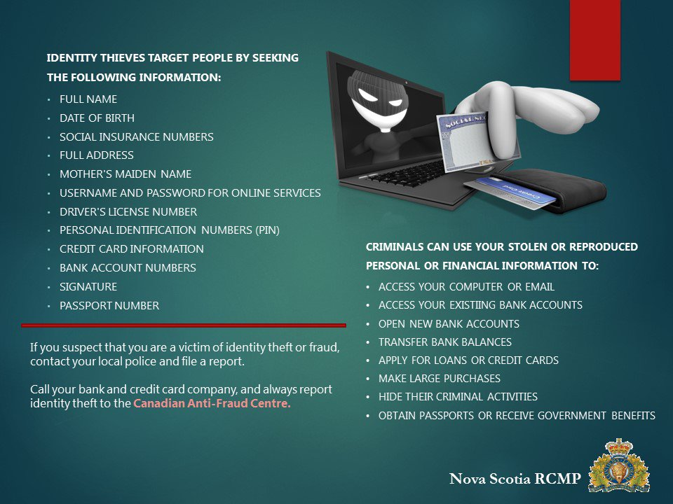 Rcmp Nova Scotia On Twitter Cyberfriday What Do Identity Thieves Want With Your Personal Information Check The List Below If You Think You Ve Been A Victim Of Identity Fraud Report It
