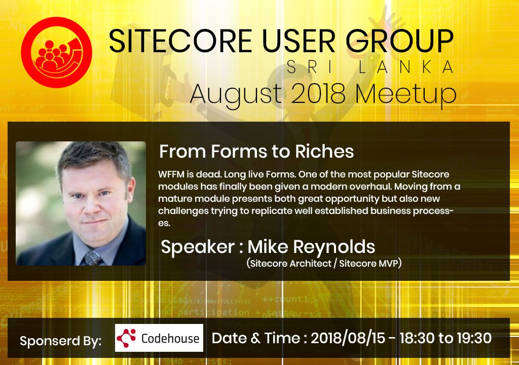 Let's Learn about #Sitecore #Forms from @mike_i_reynolds  Sign Up here : https://www. meetup.com/sugsrilanka/ev ents/253127633/ &nbsp; … <br>http://pic.twitter.com/Cu10yKaC6N