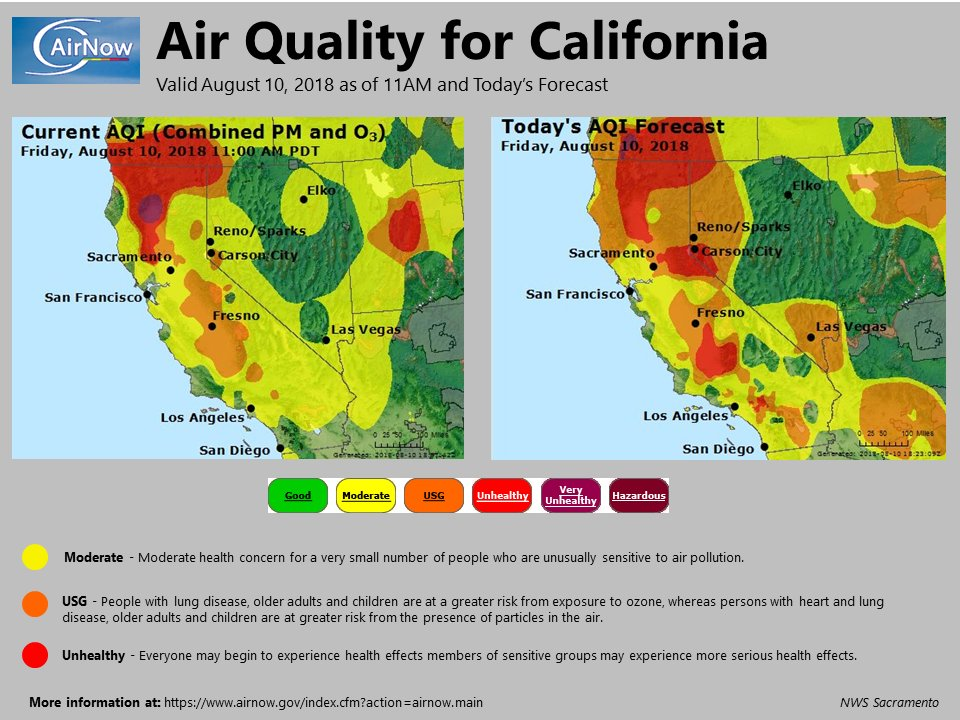 Nws Sacramento On Twitter Current And Forecast Air Quality Map For