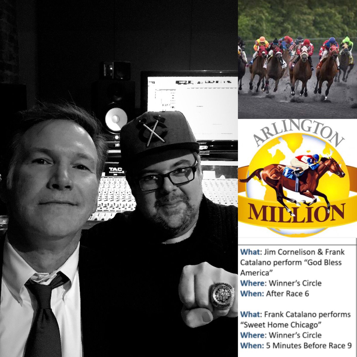 Ready to play @ArlingtonRacing #ArlingtonMillion with my bro Jim Cornelison  #Chicagojazz #NationalAnthem #chicagoblackhawks #GodBlessAmerica #sweethomechicago @Anthem_Singer<br>http://pic.twitter.com/rQf2hXSv4H