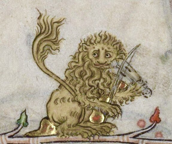 Here is a lion musician for #WorldLionDay  [Verdun, MS 107, 14th c.] <br>http://pic.twitter.com/W1x0ca25vg